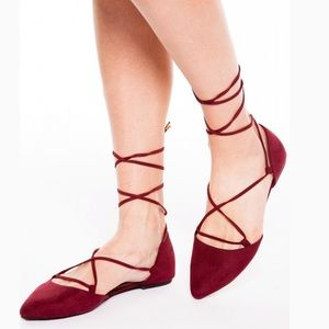 MADDEN GIRL Suede D'orsay Lace Up Pointed Flats